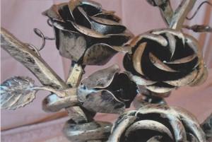 Details von einem Metallzaun aus Schmiedeeisen