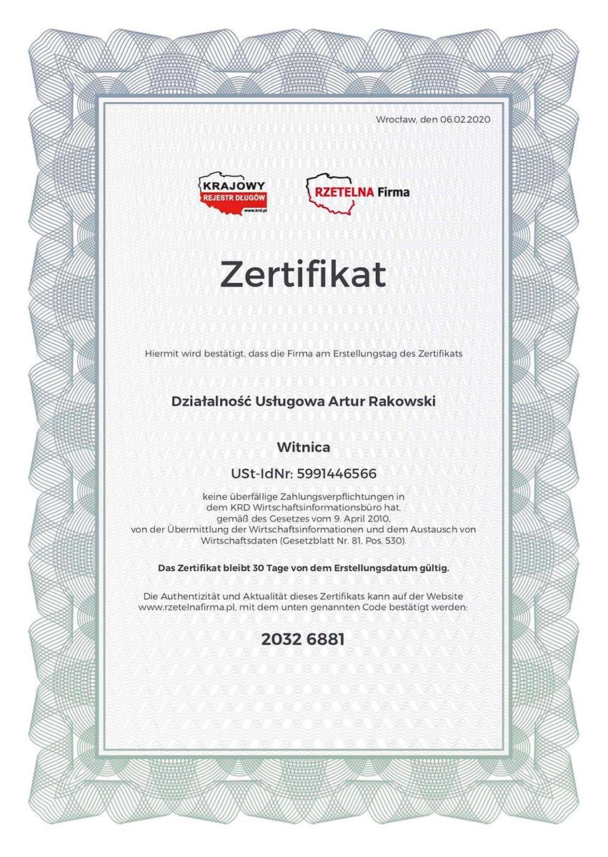 certyfikat rzetelnosci artur rakowski de